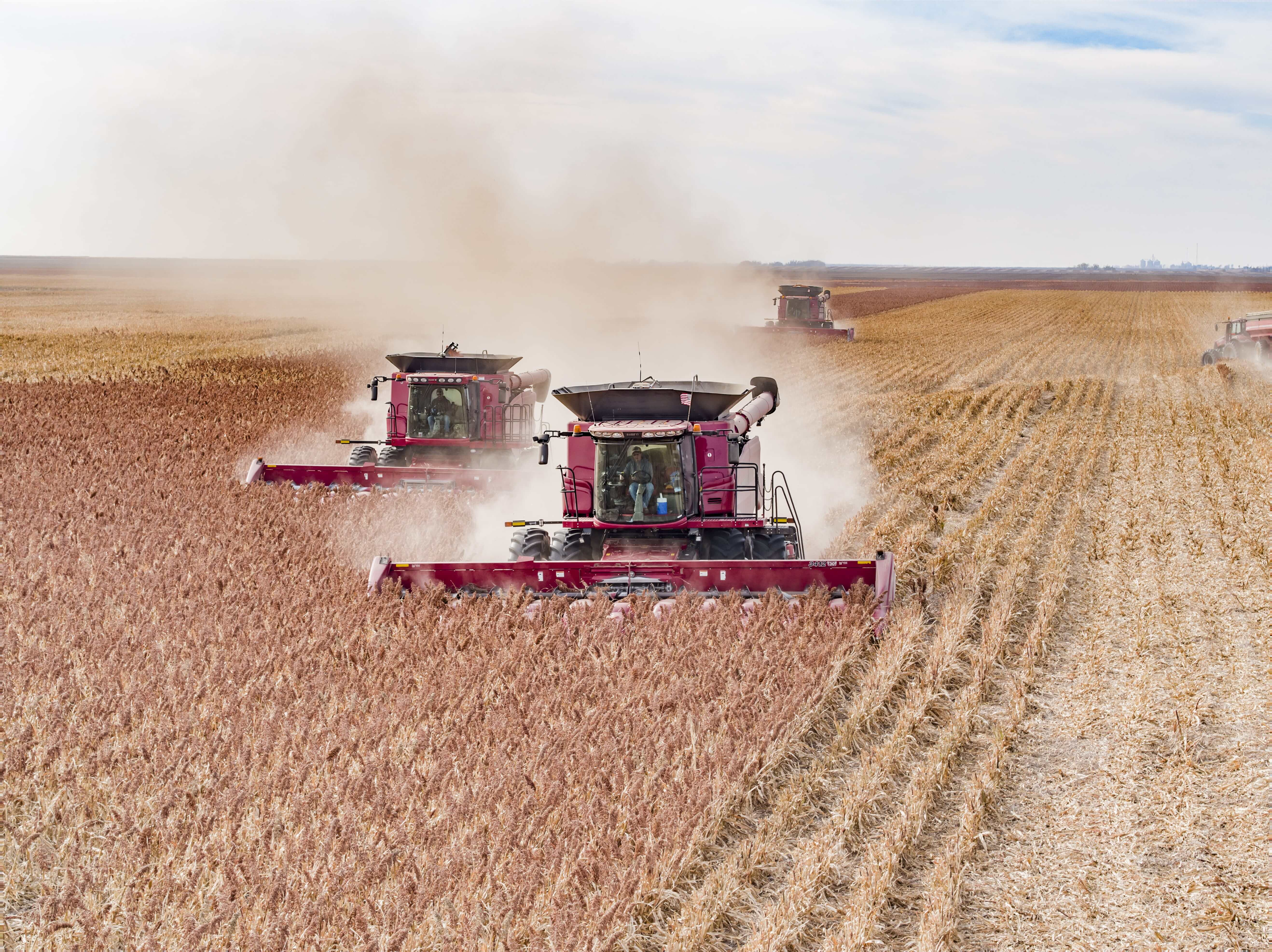 Two red combines using ARRO®.